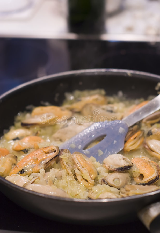 Cooking Oysters Royalty Free Stock Photo