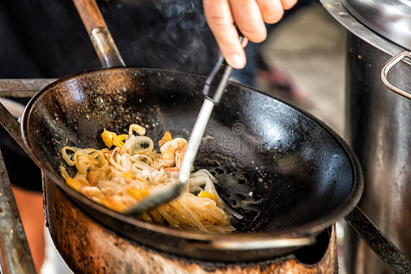 Cooking Pad Thai. Pad Thai, Cooking in a Wok, Thailand stock photography