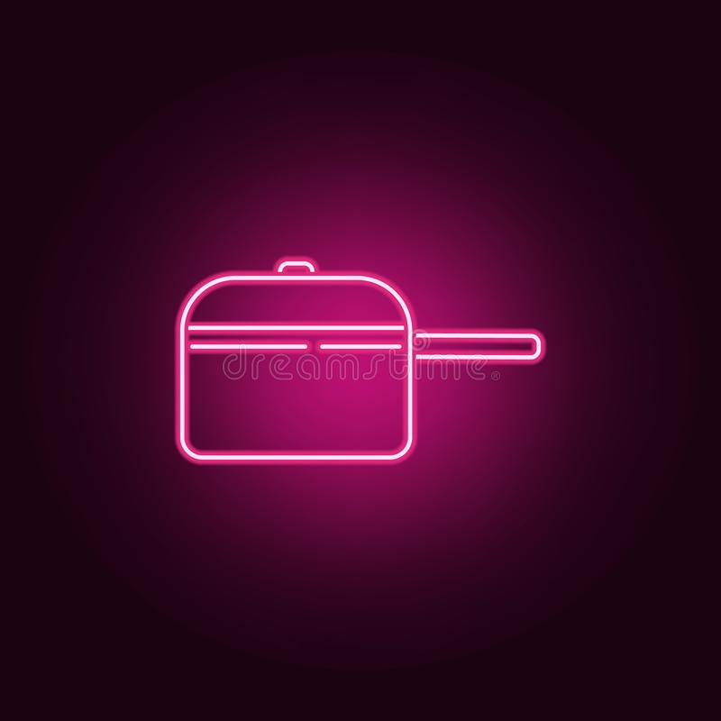 Cooking pan neon icon. Elements of Kitchen set. Simple icon for websites, web design, mobile app, info graphics. On dark gradient background stock illustration