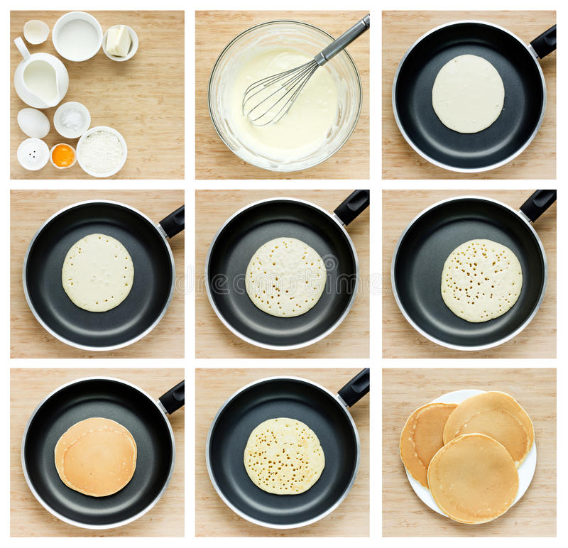 Cooking pancakes tutorial. Collage of steps preparation traditional pancake in a frying pan stock photography
