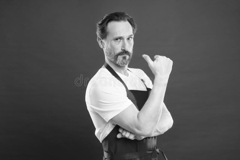 Cooking is passion. Cook with beard and mustache wear apron red background. Man mature cook posing cooking apron. Fine royalty free stock photo