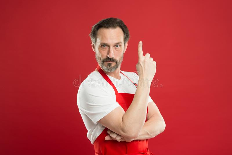 Cooking is passion. Man mature cook posing cooking apron. Fine recipe. Ideas and tips. Chief cook and professional royalty free stock photos