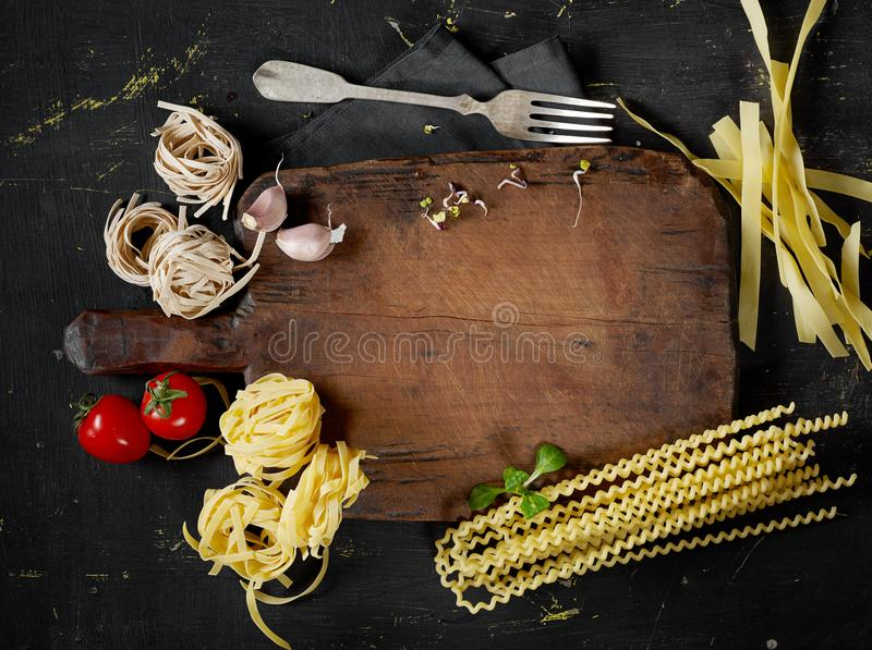 Cooking pasta from above royalty free stock photo