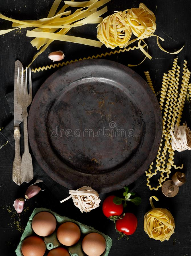 Cooking pasta from above royalty free stock images