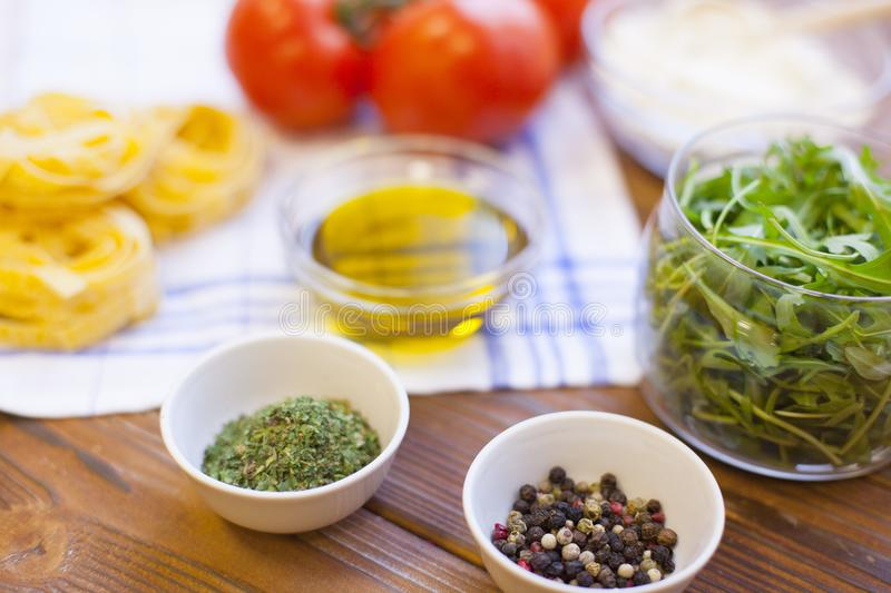 Cooking ingredients on a wooden table stock image