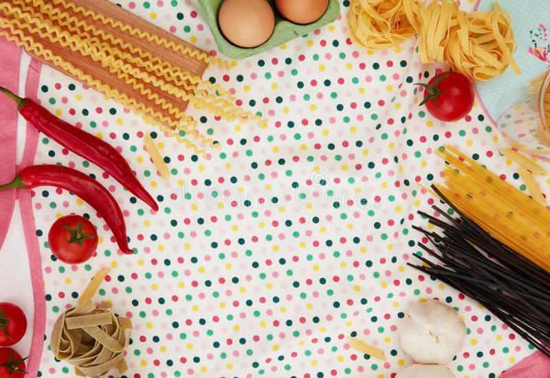 Cooking pasta and ingredients stock photo