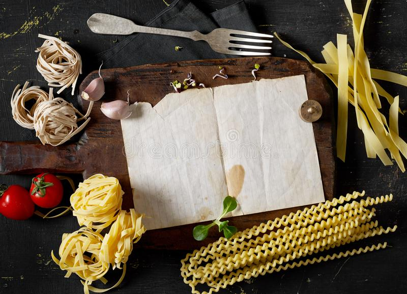 Cooking pasta receipe stock photo