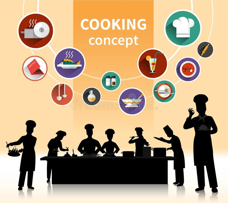 Cooking People Concept. With food ingredients and menu symbols shadow flat vector illustration royalty free illustration