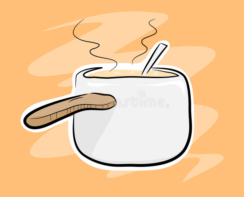 Cooking Pot. A hand drawn vector illustration of a cooking pot, on a simple background (the main sketch, colors, white outline, and the background are on their stock illustration