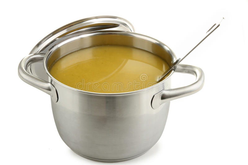 Cooking pot soup. Kitchenware, cooking pot of soup on white stock images
