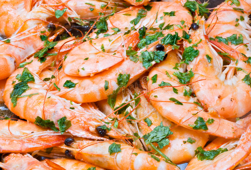 Cooking Prawns stock images