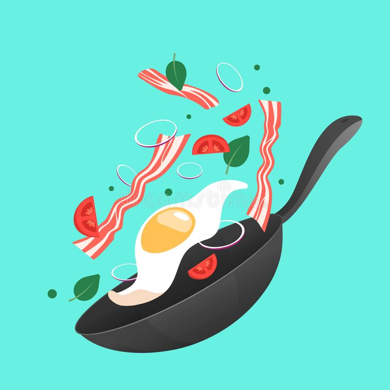 Cooking process vector illustration. Flipping fry egg in a pan. Cartoon style stock illustration