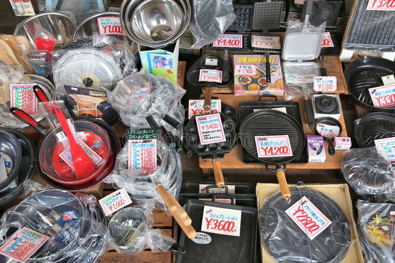 Cooking products. TOKYO, JAPAN - DECEMBER 4, 2016: Specialist cooking supplies store in Kappabashi area of Asakusa in Tokyo. Kappabashi Street is known for its stock photo