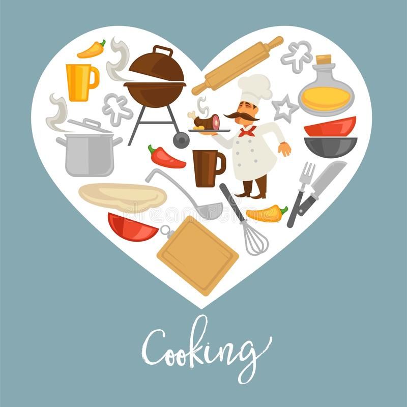 Cooking promo poster with kitchenware and chef inside heart royalty free illustration