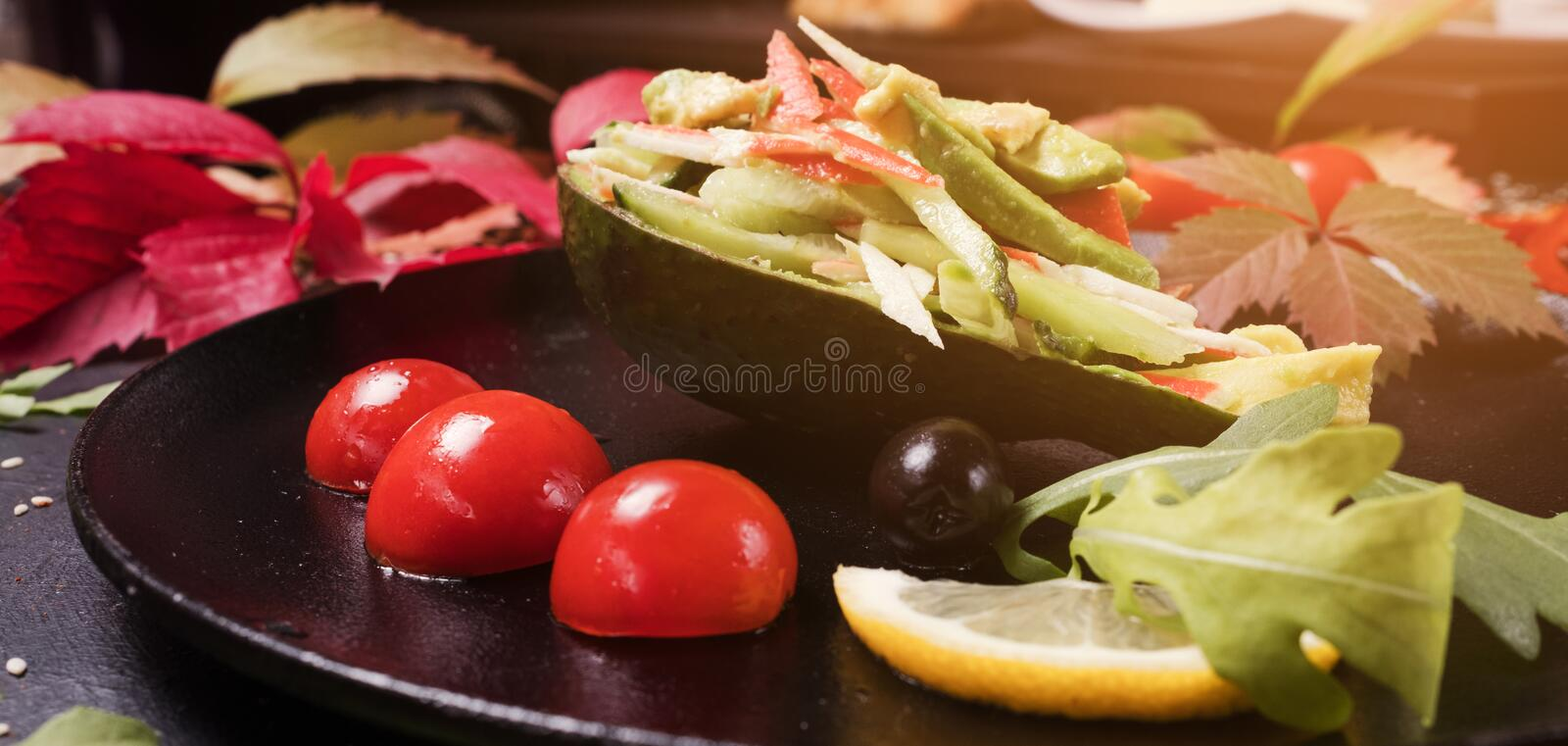 Cooking recipe elegant vegetables salad. Cooking recipe of elegant vegetables salad. healthy food. proper and delicious nutrition stock photo
