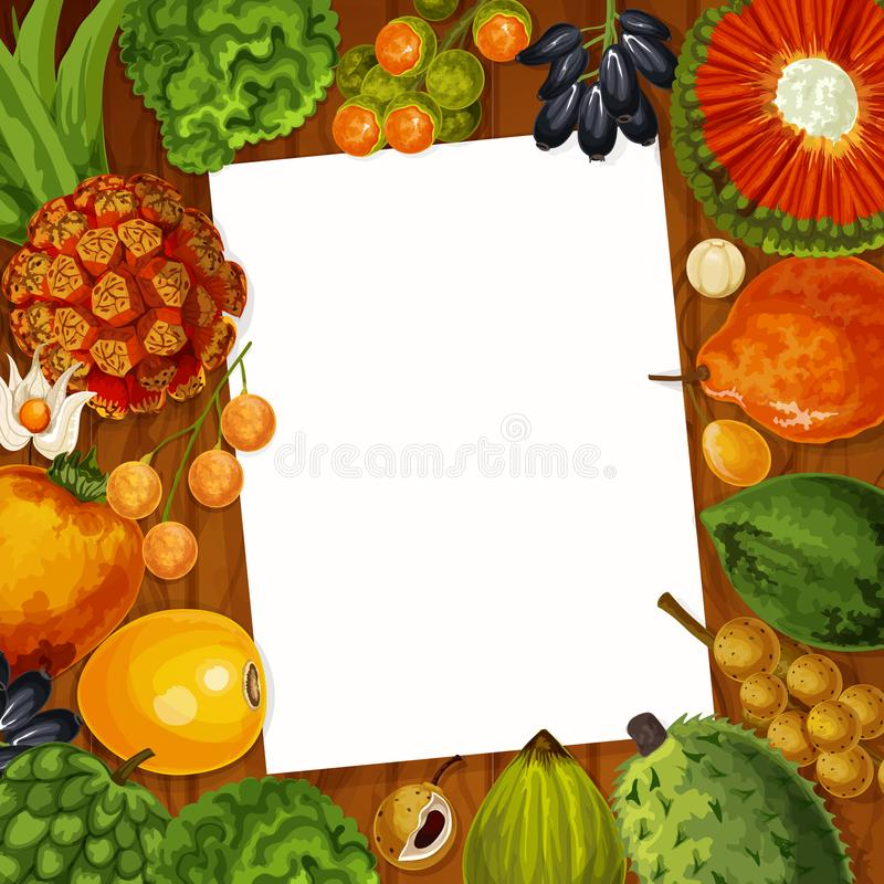 Cooking recipe note with tropical fruits. Cooking recipe or kitchen memo note in frame of exotic tropical fruits. Vector bergamot, physalis or lucuma fruit and royalty free illustration