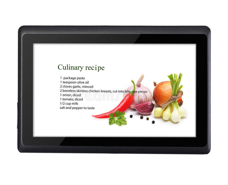 Cooking recipe on tablet pc isolated. On white background stock photo