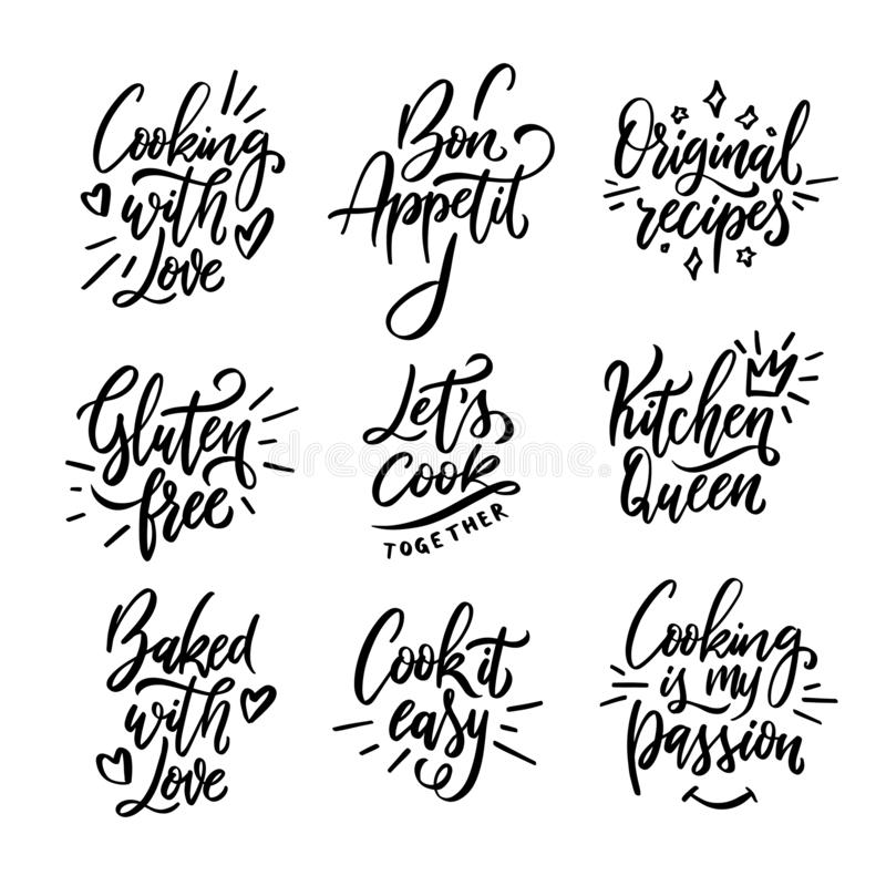 Kitchen Related Typography Set  Quotes About Cooking