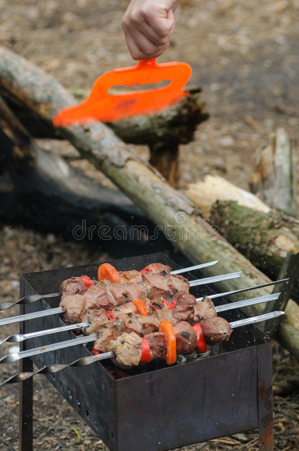Cooking roast shish kebab on coals stock photos