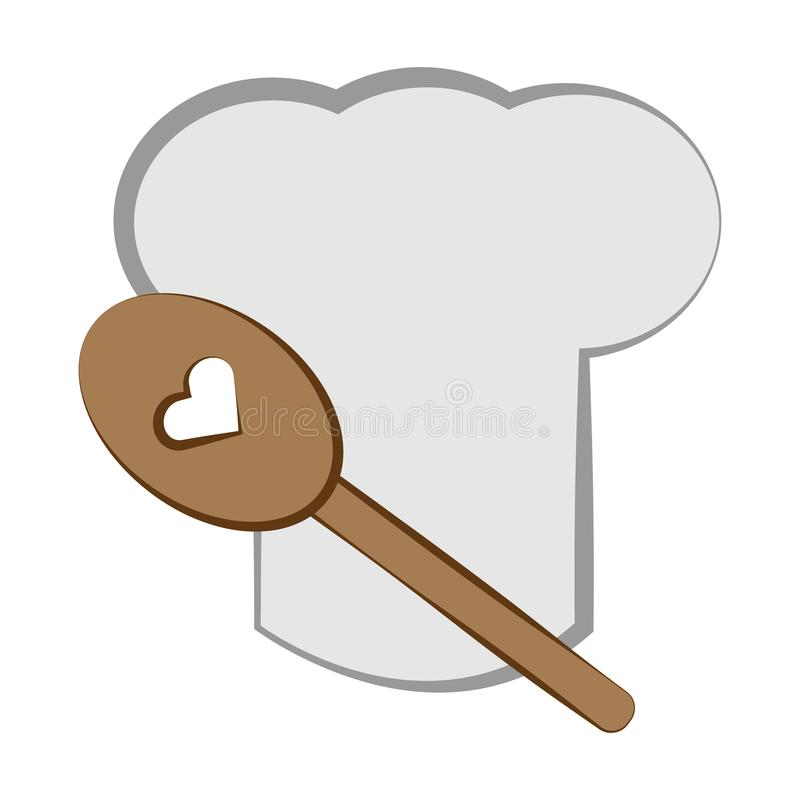 Cooking`s hat with wooden spoon. Cooking symbols. royalty free illustration