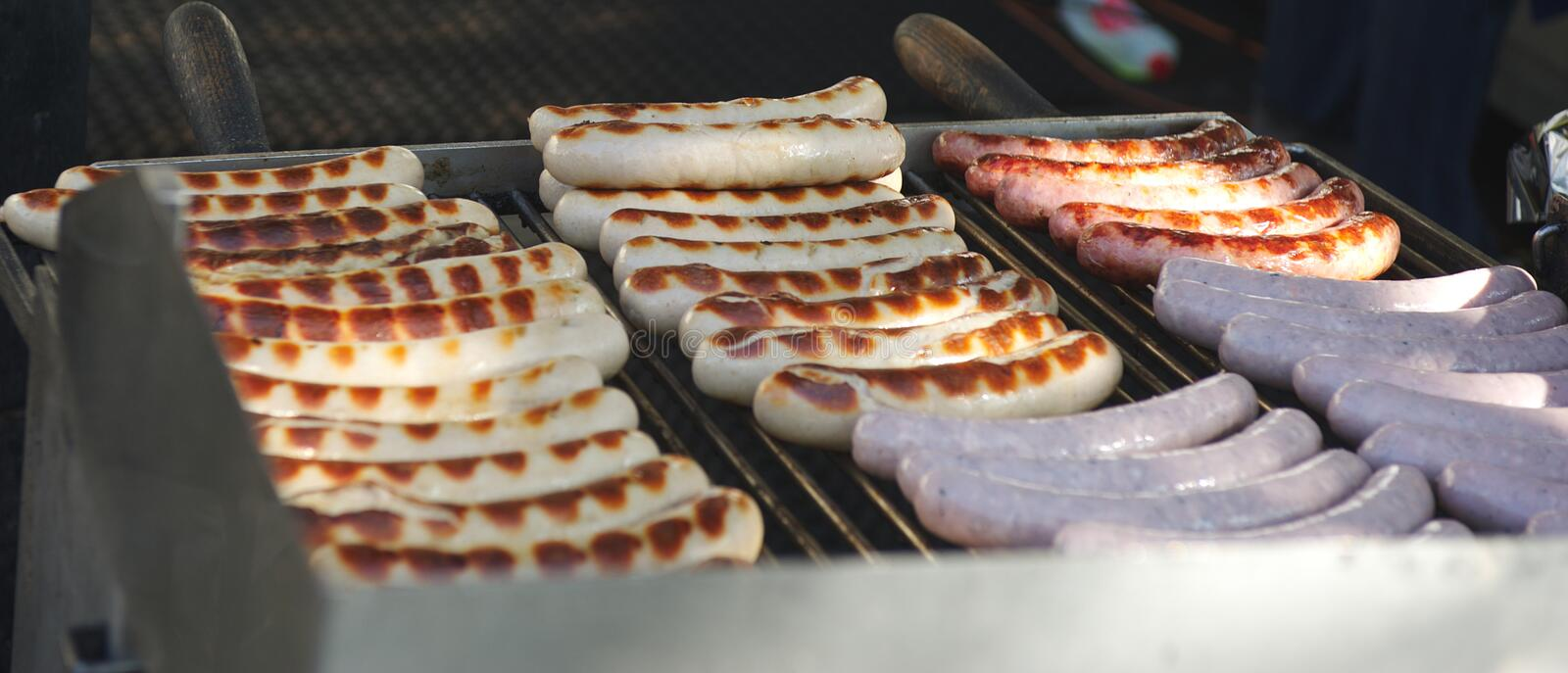 Download Cooking sausages stock image. Image of gridiron, frying - 21886407