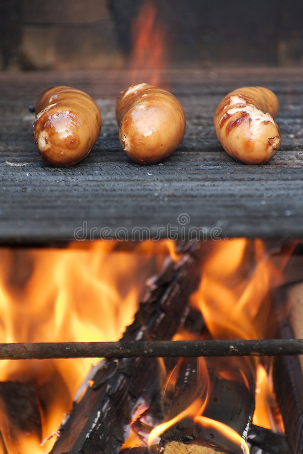 Download Grilling sausages stock photo. Image of juicy, flames - 6283324