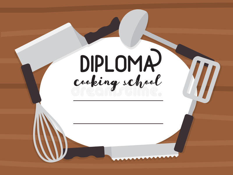 Cooking Certificate Template Fair Cooking School Diploma Stock Vectorillustration Of Education .