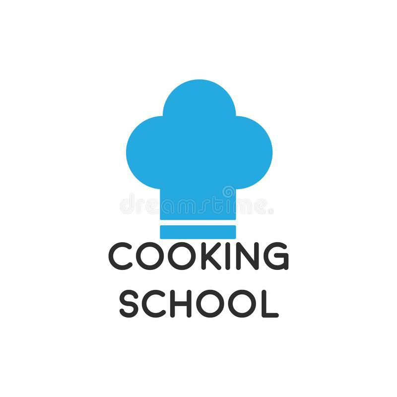 Cooking school logo with the concept of a chef hat. Cooking school logo with the concept of a chef's hat, chefs, academy, cooks, vector, symbol stock illustration