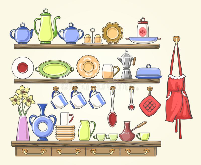Cooking shelf with vintage dishes vector illustration