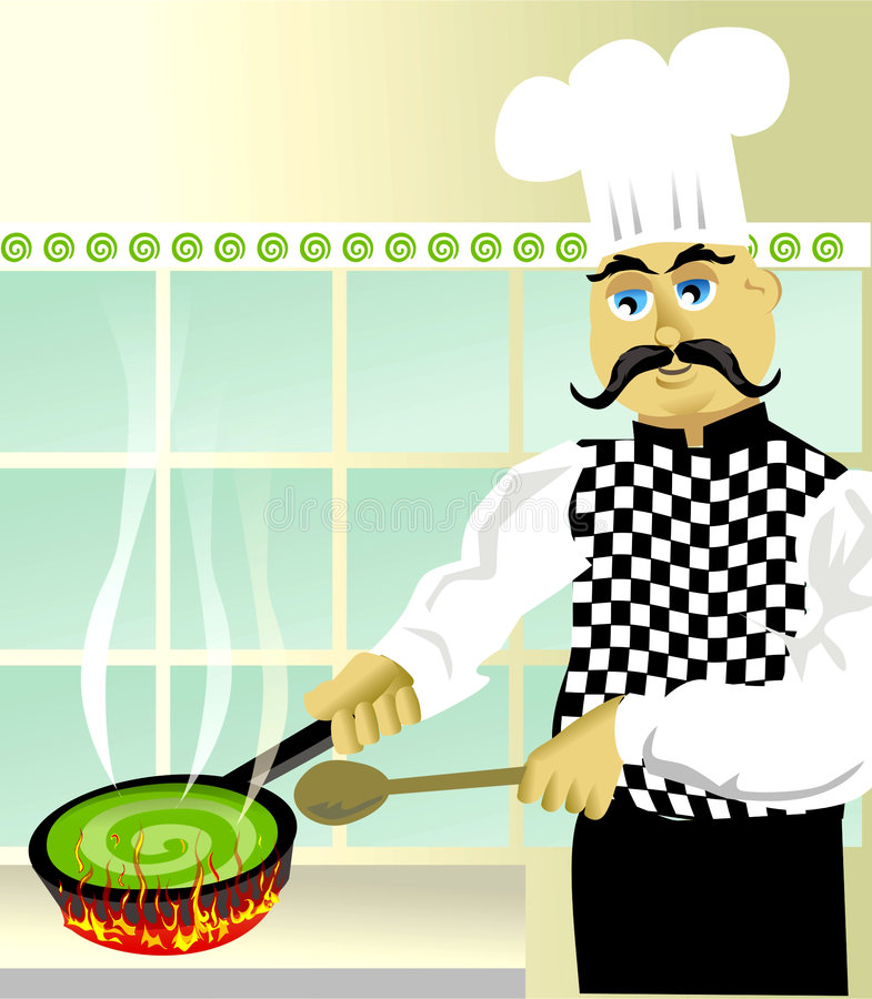 Cooking something special. Cartoon chef cooking something special