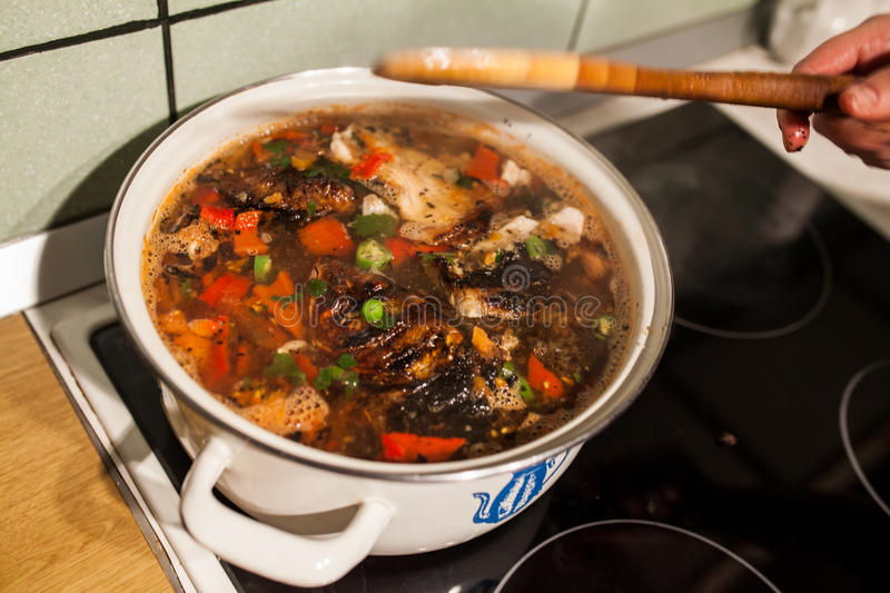 Cooking soup stock image