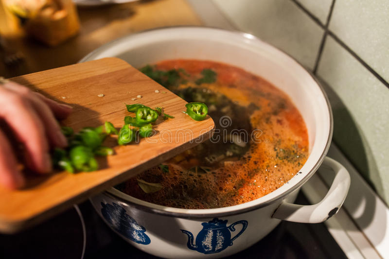 Cooking soup royalty free stock images