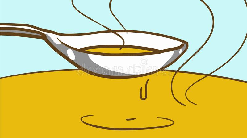 Cooking soup or sauce. Cartoon Hot Food in a spoon. royalty free illustration