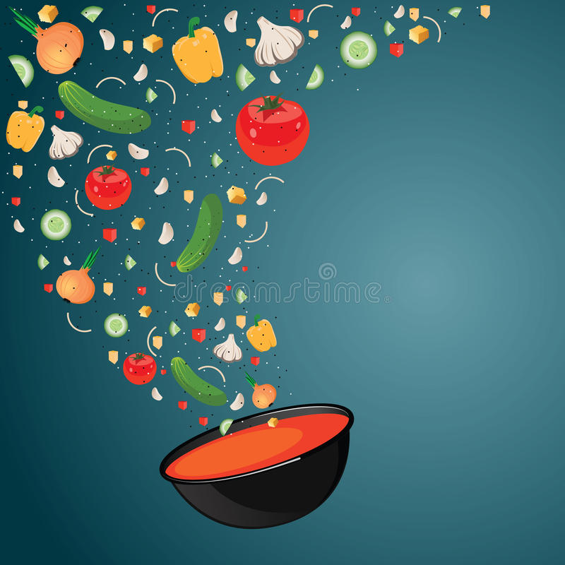 Cooking soup with vegetables. Gazpacho. Vector illustration. Vegetables fall into the bowl. Recipe soup. Space for text stock illustration