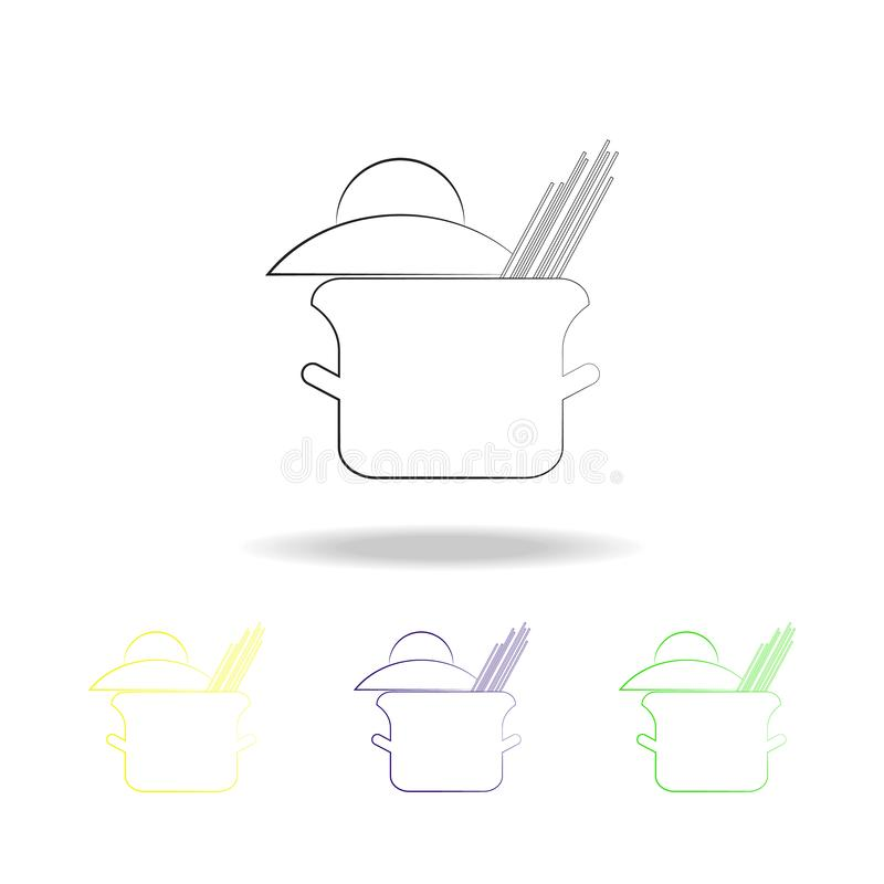 Cooking spaghetti multicolored outline icons. Spaghetti element multicolored outline icons. Cuisine sign, outline symbols collecti. On icon for websites, web vector illustration