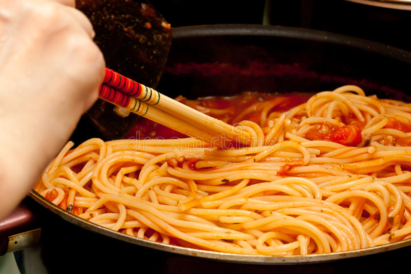 Cooking Spaghettis royalty free stock image