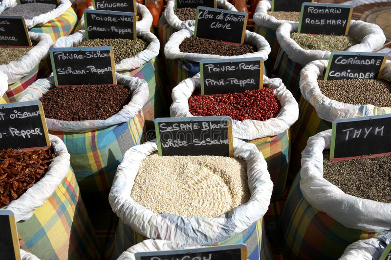 Cooking spices. For sale on a market stall Marigot St Martin leeward islands lesser antilles eastern caribbean west indies stock photos