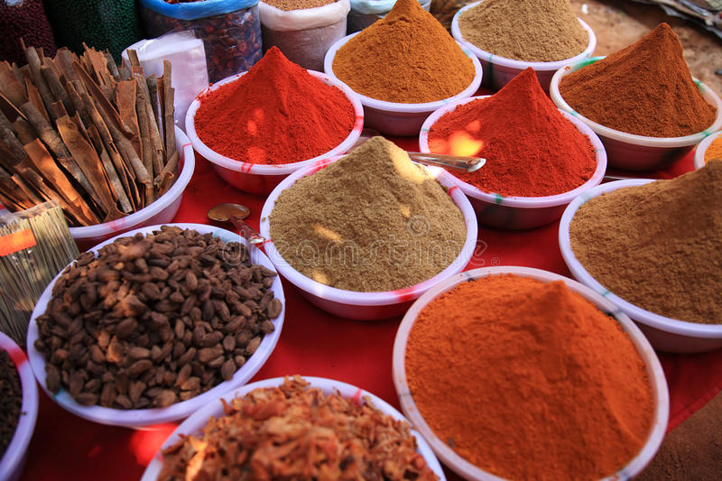 Cooking spices in Indian market. In Goa royalty free stock photos
