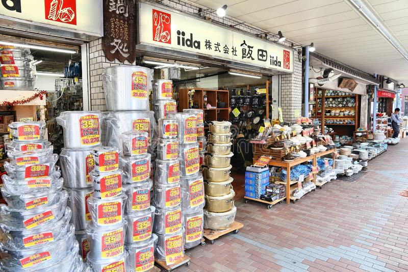 Cooking supplies, Tokyo. TOKYO, JAPAN - DECEMBER 4, 2016: People visit specialist cooking supplies store in Kappabashi area of Asakusa in Tokyo. Kappabashi stock photo