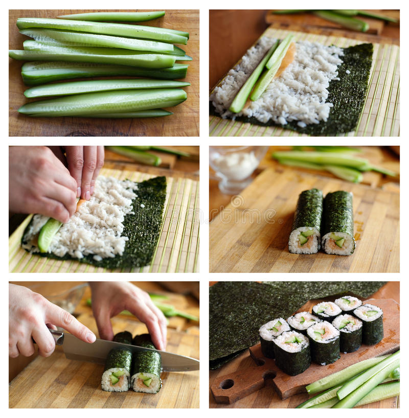 Download Cooking sushi stock image. Image of oriental, food, salmon - 22664239
