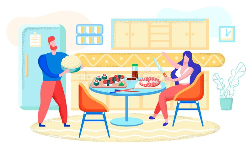 Cooking Sushi Rolls at Home Flat Vector Concept. Cooking Restaurant Food at Home, Preparing for Family Party Flat Vector Concept with Man and Woman Characters stock illustration