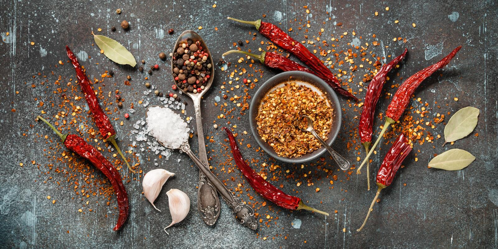 Cooking table with dry spices stock images