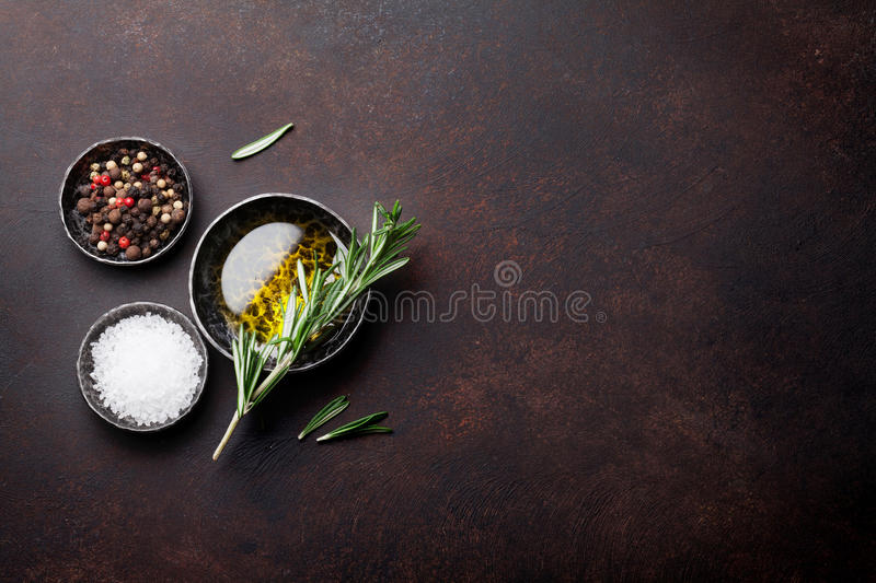 Cooking table with herbs and spices royalty free stock photos