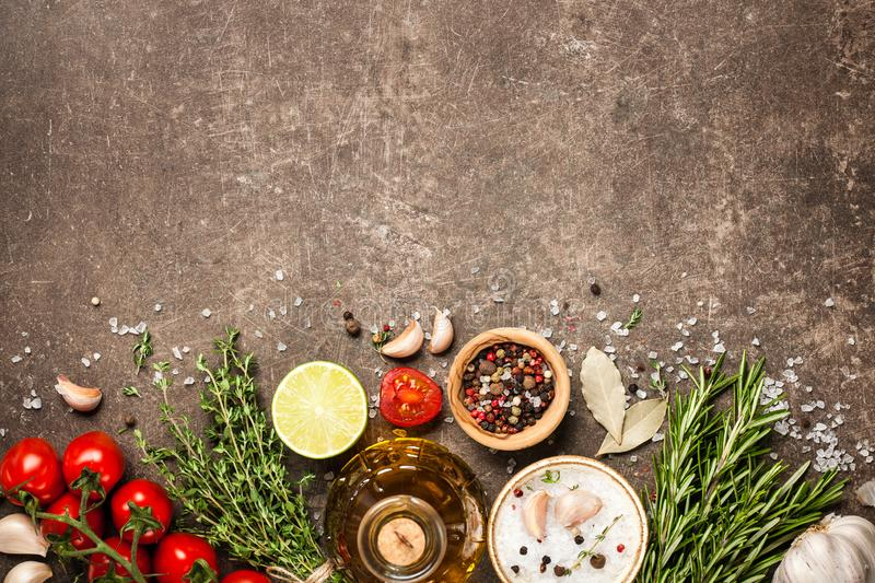 Cooking table with ingredients royalty free stock photos