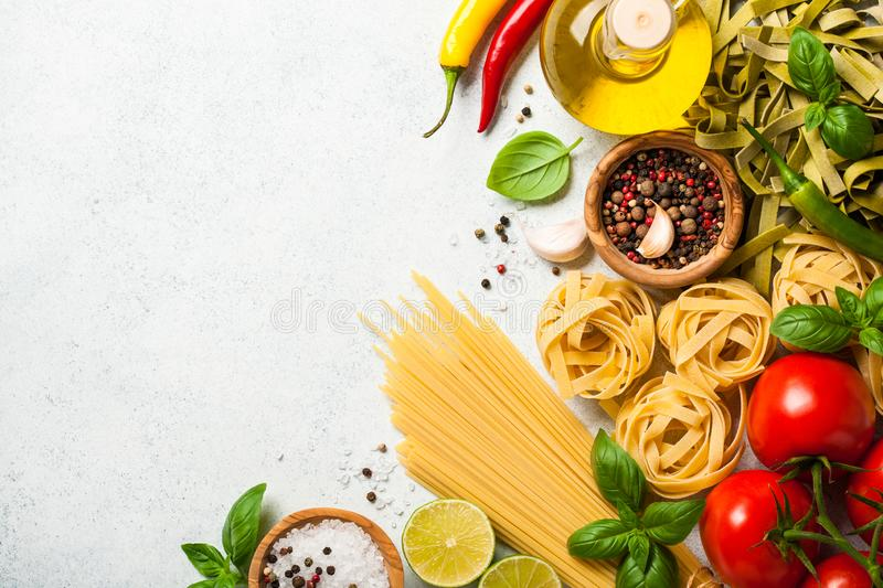 Cooking table with ingredients. Italian cuisine concept stock photography