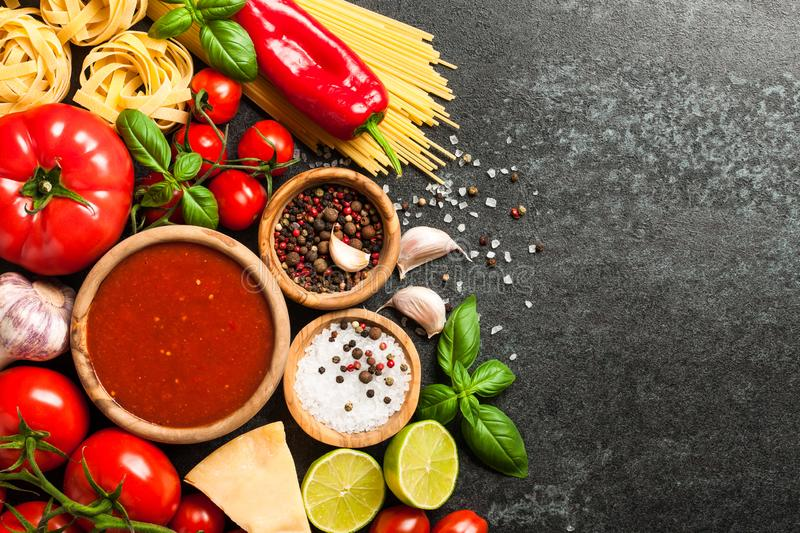 Cooking table with ingredients. Italian cuisine concept stock images