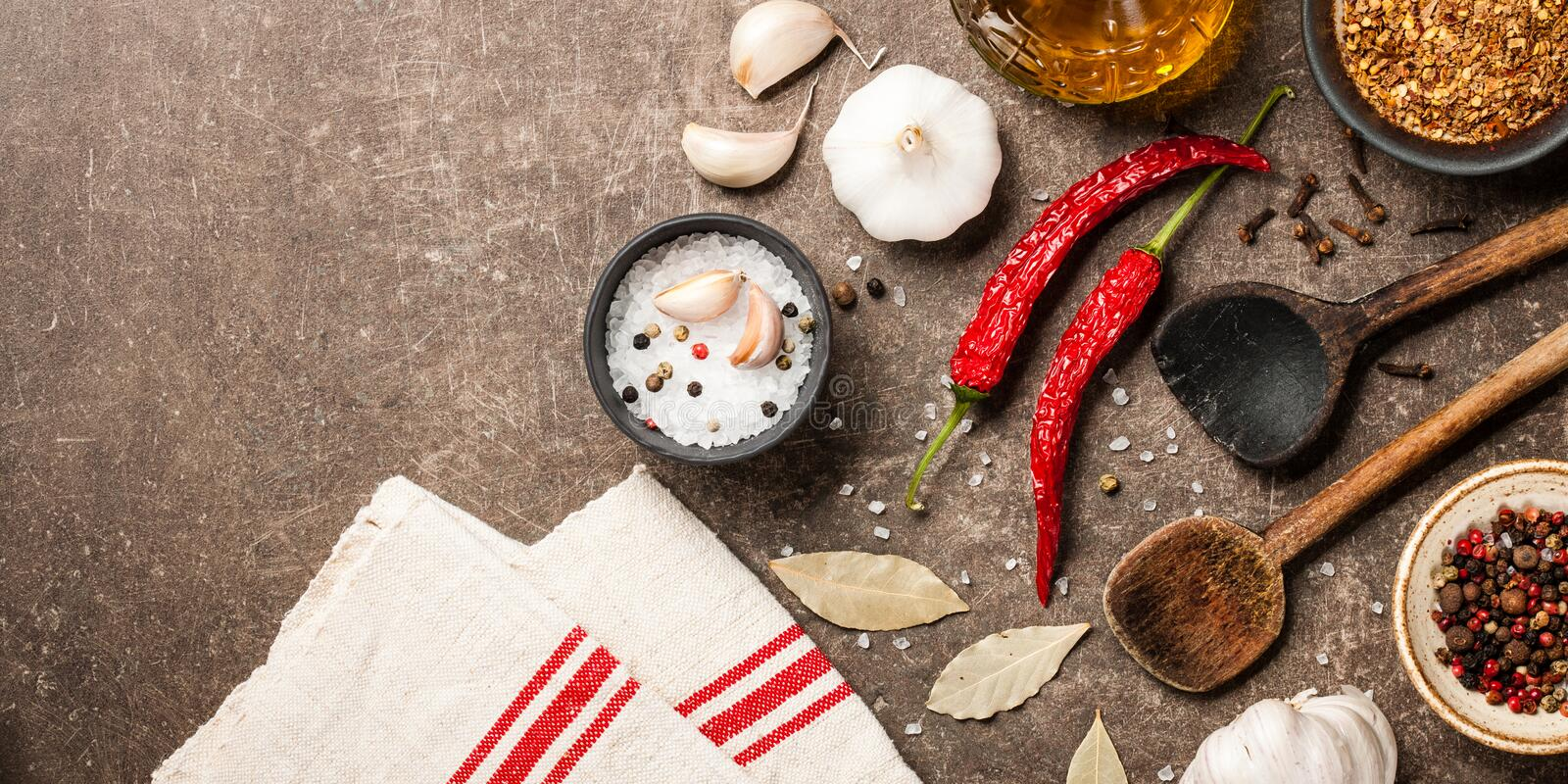 Cooking table with spices stock images