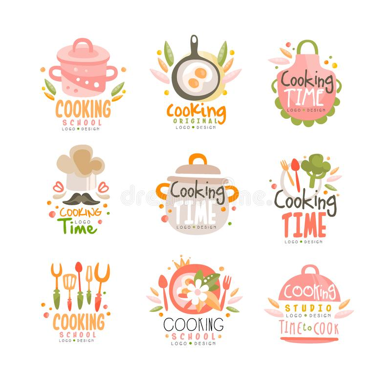 Cooking time studio logo design, kitchen emblem can be used for culinary class, course, school hand drawn vector. Illustration isolated on a white background vector illustration