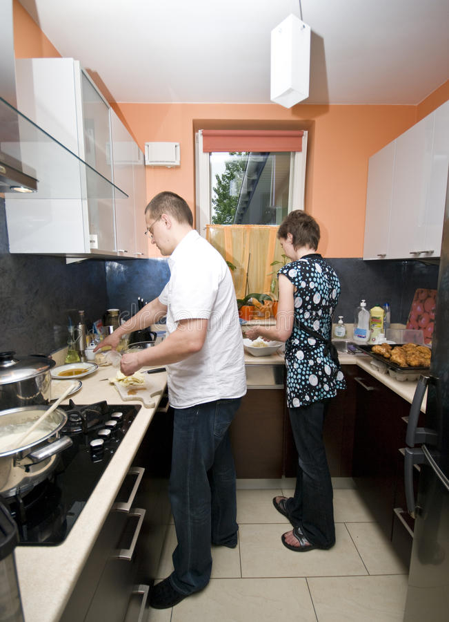 Download Cooking together stock photo. Image of kitchen, party - 9680258
