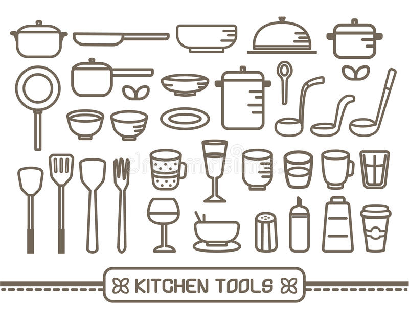 Cooking tools icons set stock illustration